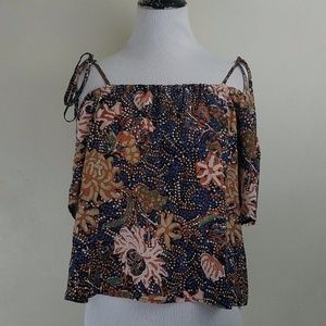 Madewell Off the Shoulder  Navy Floral Silk Blouse